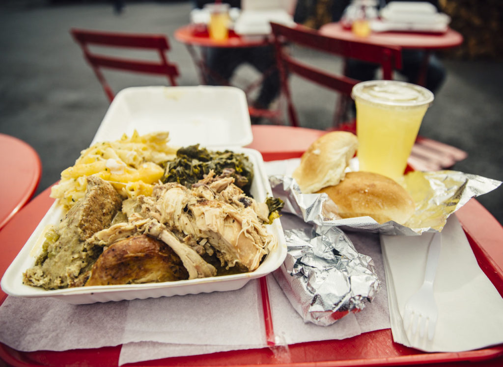 a plate of southern comfort food from Kees Kitchen
