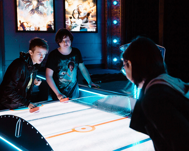 air hockey match at Avalon Theatre & Wunderland